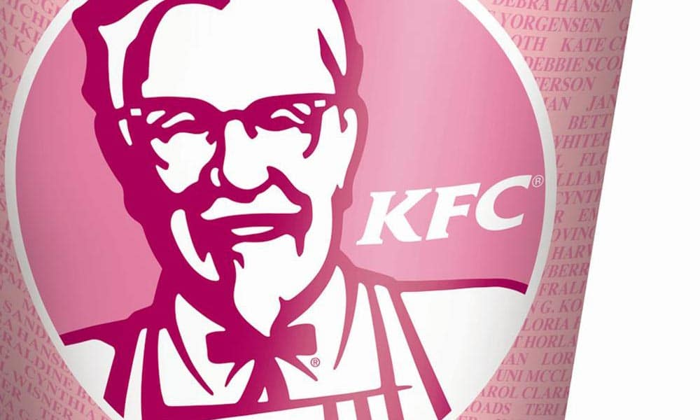 kentucky fried chicken pink bucket for breast cancer awareness