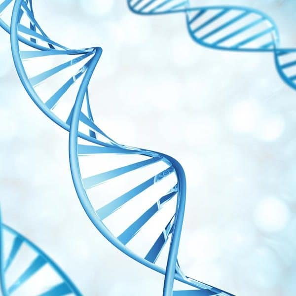 blue dna strings over burry background