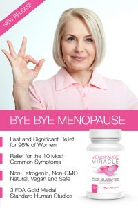 woman with menopause miracle bottle smiling with no menopause symptoms