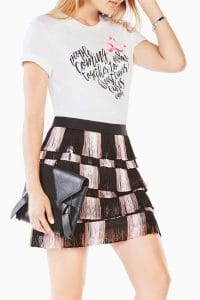 bcbg maxazria pink lotus foundation t-shirt on young model with skirt