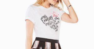 close-up of bcbg maxazria pink lotus foundation t-shirt on young model