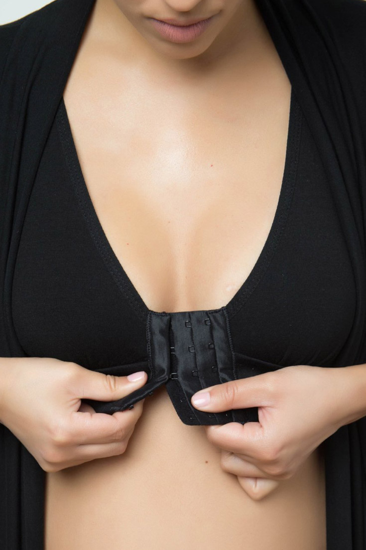 Adjustable, pocketed, underwire free and made with softer-than cotton modal fabric to offer comfortable compression with easy 'front closure' on-and-off.